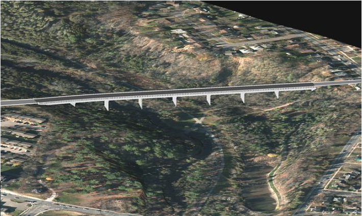 image of AECOM's visualization of the Jackson Park Bridge Aerial view from the South