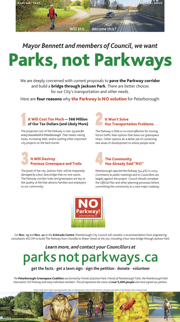 Parks, Not Parkways Full Page Ad, Peterborough Examiner, Nov. 7, 2013