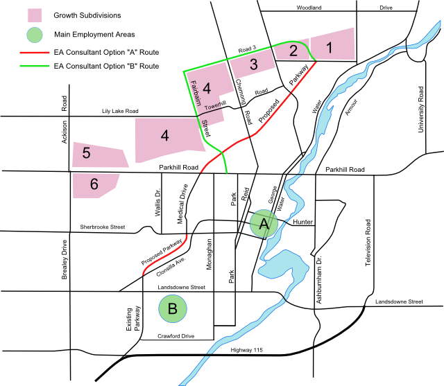 map of proposed growth subdivision and employment areas